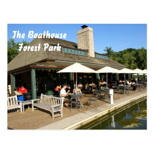 Boathouse in Forest Park Postcard