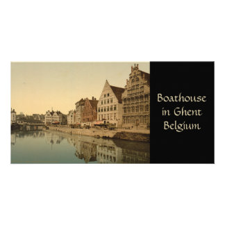 Boathouse in Ghent, Belgium Photo Card Template