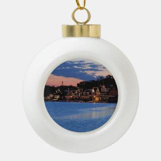 Boathouse Row dusk Ceramic Ball Christmas Ornament