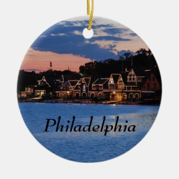 JLPhotographs Boathouse Row dusk Ceramic Ornament