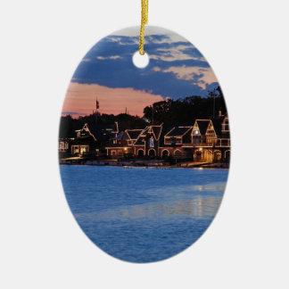 Boathouse Row dusk Ceramic Ornament