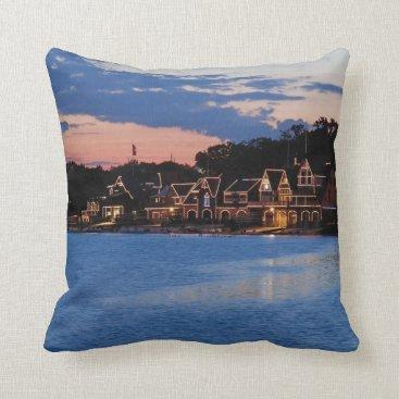 JLPhotographs Boathouse Row dusk Throw Pillow
