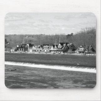 Boathouse Row winter b/w Mouse Pad