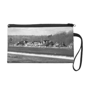 Boathouse Row winter b/w Wristlet