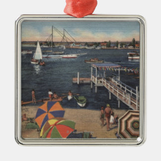 Boating and Swimming on Newport Bay Metal Ornament