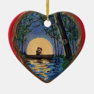 Boating by Moonlight Vintage Valentine Ceramic Ornament