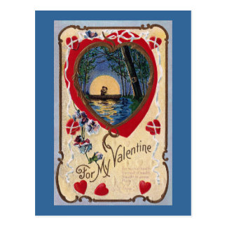 Boating by Moonlight Vintage Valentine Postcard