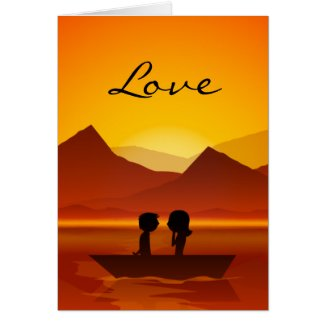Boating Couple Mountain LOVE Valentine's Day Card