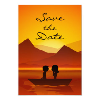 """Boating Couple Mountain Wedding Save the Date 3.5"""" X 5"""" Invitation Card"""