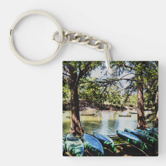 boating down the river Double-Sided square acrylic keychain