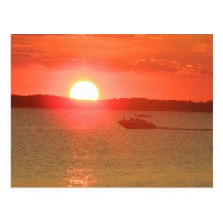 Boating During Sunset Postcard