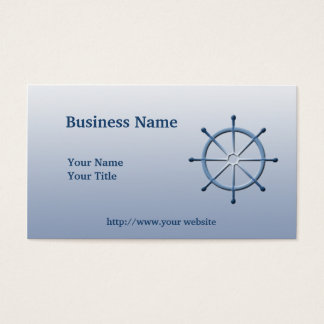 Boating Helm Ship Wheel Blue Custom Business Card