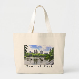 Boating in Central Park Large Tote Bag