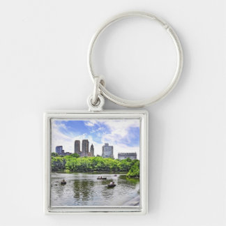 Boating in Central Park Silver-Colored Square Keychain