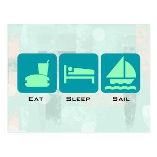 Boating Life - Eat Sleep Sail on Green Background Postcard