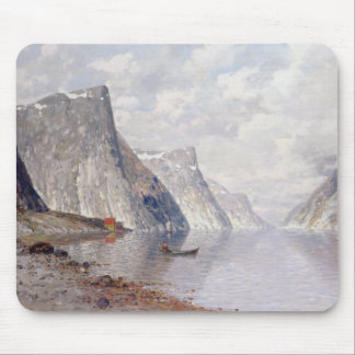 Boating on a Norwegian Fjord (oil on canvas) Mouse Pad