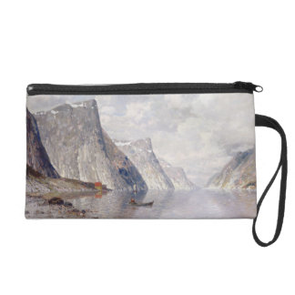 Boating on a Norwegian Fjord (oil on canvas) Wristlet Purse