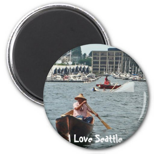 Boating on Lake Union 2 Inch Round Magnet