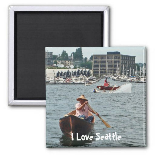 Boating on Lake Union 2 Inch Square Magnet