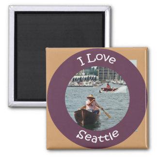 Boating on Lake Union Circle Magnet