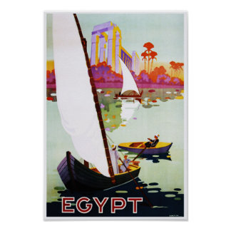 Boating on Nile Egypt Vintage Travel Poster