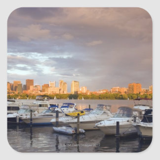 Boating on The Charles River at dusk Square Sticker