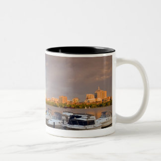 Boating on The Charles River at dusk Two-Tone Coffee Mug