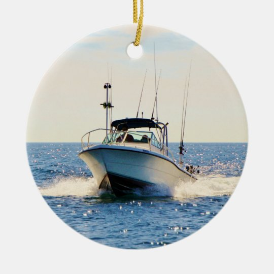 Boating on the Lake Ceramic Ornament