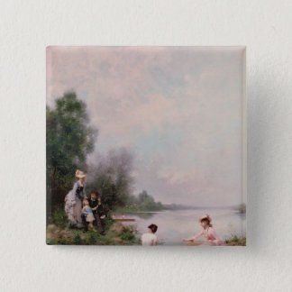 Boating on the River, 19th century Button