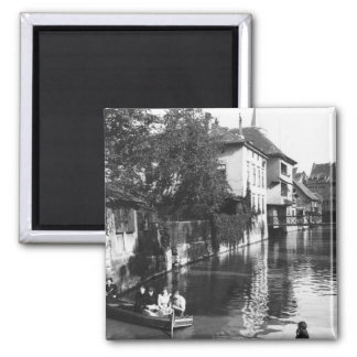 Boating on the river Gera at Erfurt 2 Inch Square Magnet