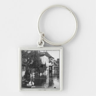 Boating on the river Gera at Erfurt Silver-Colored Square Keychain