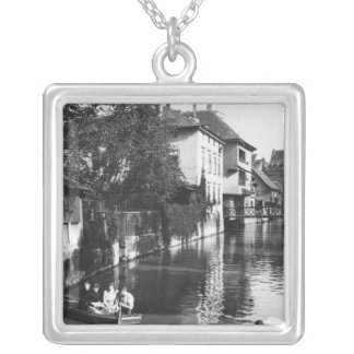 Boating on the river Gera at Erfurt Silver Plated Necklace