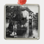 Boating on the river Gera at Erfurt Square Metal Christmas Ornament