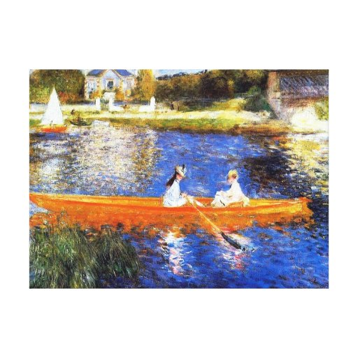 Boating on the Seine River Renoir Stretched Canvas Print