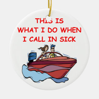boating Double-Sided ceramic round christmas ornament