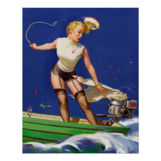 Boating Pin Up Poster