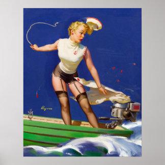 Boating Pin Up Poster