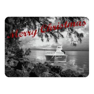 """Boating Santa Claus Christmas Card 4.5"""" X 6.25"""" Invitation Card"""