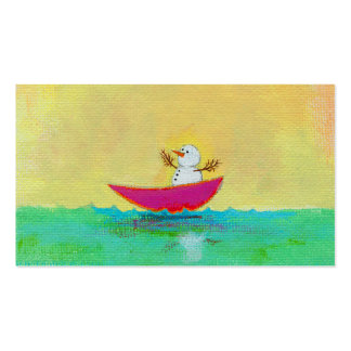 Boating snowman on winter holiday vacation art business card