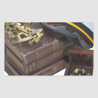 BoatingBooksCaptainSextantCompassTelescope042113.p Rectangular Sticker