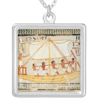 Boatmen on the Nile, from the Tomb of Sennefe Silver Plated Necklace