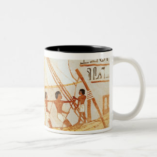 Boatmen on the Nile, from the Tomb of Sennefe Two-Tone Coffee Mug