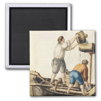 Boatmen Pouring Fresh Water into the Pipelines 2 Inch Square Magnet
