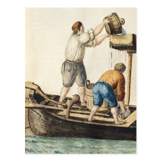Boatmen Pouring Fresh Water into the Pipelines Postcard
