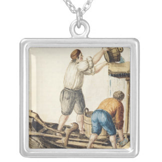 Boatmen Pouring Fresh Water into the Pipelines Silver Plated Necklace