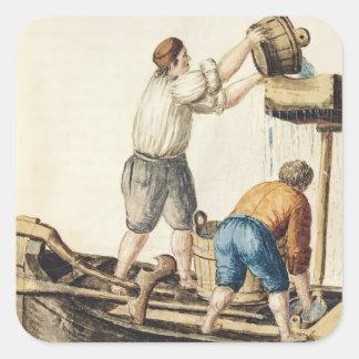Boatmen Pouring Fresh Water into the Pipelines Square Sticker
