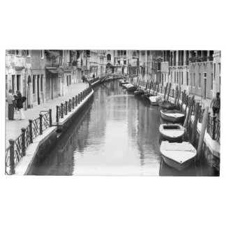 Boats along a canal in the Italian city of Venice Table Card Holder