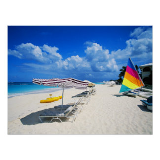 Boats And Beach Chairs Poster
