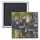 Boats and buildings along the canal belt, 2 inch square magnet