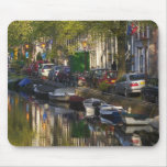 Boats and buildings along the canal belt, mouse pad